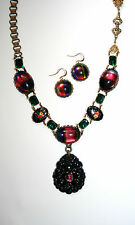 Artisan vintage Victorian bookchain rainbow black jet Czech glass necklace set