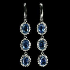 Earrings Blue Kyanite Genuine Natural Gems Solid Sterling Silver Drop Design