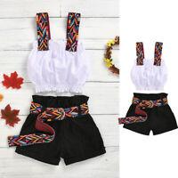 Toddler Kids Baby Girls Off-Shoulder Tops+Denim Shorts+Belt Outfits Clothes AU