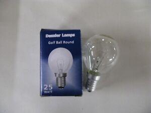 10 x NEW 25W CLEAR E14 SES Golf Ball Round 45mm Dazzler Lamp Light Bulb Job Lot