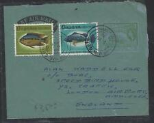 GUYANA  (PP1605B)  1969 QEII   QEII 6C  AEROGRAM +FISH 6C+3C   TO ENGLAND