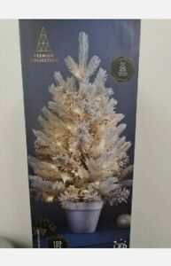 2ft Pre-Lit Nordic Spruce Christmas Tree 25 Warm LED With Silver Pot/ 103 Tips