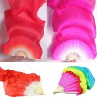 Colorful Belly Dance Bamboo Long Silk Fans s 4Color Hand Made Silk Fan(: