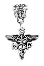 NP Caduceus Nurse Practitioner Medical Dangle Charm for European Bead Bracelets