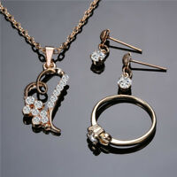 3Pcs Crystal Romantic Earrings Ring Love Heart Necklace Valentine's Day Gift one