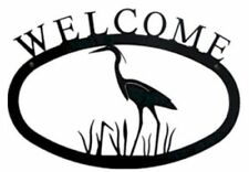 Wrought Iron Welcome Sign Heron Silhouette Small Outdoor Plaque Home Decor House