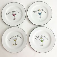 Pottery Barn Set of 4 Martini Collection Dessert Cocktail Appetizer Tapas Plates