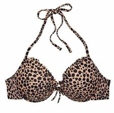 Victoria's Secret Bikini Top Halter Fabulous Natural Animal Cheetah Vs 32D Small
