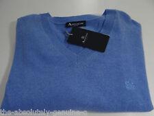 AQUASCUTUM 100% Cashmere Maglione Pullover Mid Blu Sz M Vee Neck NUOVO CON ETICHETTA