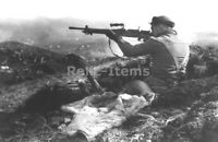 WW2 Picture Photo Canadian soldier w a captured Japanese machine gun 1943 1829