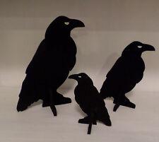 3 BLACK FELT 3D RAVENS - 3 SIZES FALL THANKSGIVING TABLE CENTERPIECE HOME DECOR