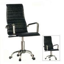 Dolls House Directors Desk Chair Black & Chrome Modern Office Study Furniture