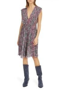 NWT Authentic Isabel Marant Print Silk Deep-V Mini Dress, 42, 10, Faded Night