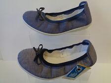 Ladies Denim Blue / Navy Wash Easy B Slip On Canvas Shoes Omega