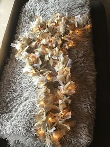 Homemade Lighted Garland Burlap & White/gray  Design Fabric 50 Light 11.23 Ft