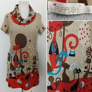 PURPLISH LONDON Multicolour Quirky Cat Jumper Dress Tunic Pockets Large