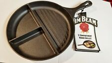 NEW Jim Beam 3 Compartment Round Heavy Cast Iron Skillet with Tag 10 in diameter