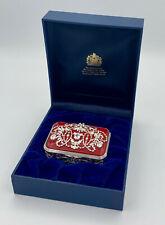 Halcyon Days English Enamel Jewelled Trinket Box Corsage Red New in Box