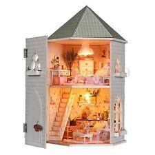 Love Castle DIY Kit Dollhouse Miniature Dolls House LED Furniture Kids Gift