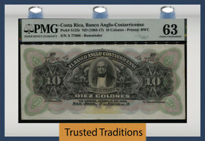 TT PK S123r ND (1903-17) COSTA RICA 10 COLONES PMG 63 CHOICE UNCIRCULATED!
