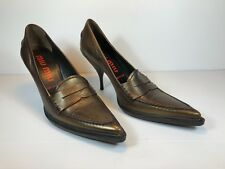 GORGEOUS MIU MIU ANTIQUE BRONZE LEATHER  COURT SHOES STILLETTO  SIZE 39/40 EU ?