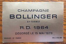 Une étiquette de champagne Bollinger R.D. 1964 - 75 cl