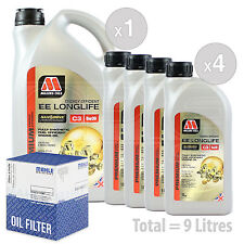 Engine Oil and Filter Service Kit 9 LITRES Millers NANODRIVE EE 5w-30 C3 9L