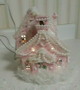 PINK CHRISTMAS CERAMIC HOUSE REPAINTED DECORATED GLITTER ELECTRIC OOAK
