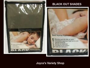 """Black Out Window Shades 52"""" x 84"""" Two Panels Blocks Light & Noise"""