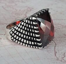 Turkish Ottoman Faceted Red Agate Gemstone Solid 925 Sterling Silver Men Ring