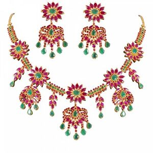 TRADITIONAL INDIAN NATURAL RUBY EMERALD MARQUISE NECKLACE EARRINGS IN SILVER