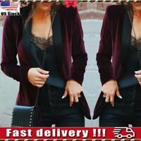 Womens Long Sleeve Velvet Slim Blazer Jacket Tops OL Ladies Formal Coat Outwear