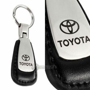 TOYOTA Tear Drop Authentic Black Leather Key Fob Keyring Keychain Tag Engraved
