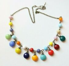 Vintage Czech Glass Harlequin Style Cluster Beaded Glass Necklace*