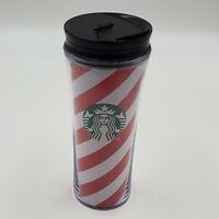 Starbucks Red White Striped Christmas Travel Mug Cup Tumbler 16 Oz Plastic