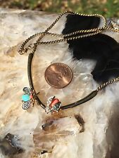 Rare Vintage Panetta Ladybug Necklace Turquoise Coral And Diamond #1433
