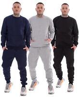 Mens Plain Tracksuit Branded Fleece Pullover Sweatshirts Cotton Jogging Bottoms
