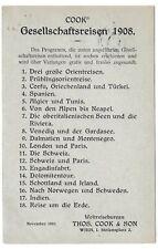 Wien,Vordruck-Karte,Cook´s Gesellschaftsreisen,Weltreise-Bureau,nach Prag,1907