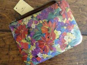 PATRICIA NASH Cassini CITRUS SUNRISE TROPICAL FLORAL Leather WRISTLET Bag