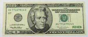 1996 INK ERROR Reverse Note $20 US #27422F