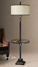 "NEW RUSTIC BLACK METAL 66"" FLOOR LAMP 19"" TEMPERED GLASS TABLE DRUM SHADE LIGHT"