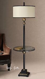 "REVOLUTION DESIGNER MID CENTURY METAL 66"" FLOOR LAMP 19"" GLASS TABLE UTTERMOST"