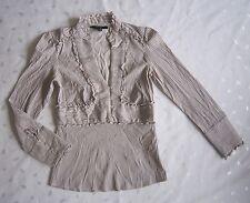 ZARA Empire Waist V-neck Stripped Career Embellished Shirt Blouse-Size S / Small