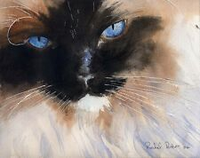 Giclee PRINT Ragdoll Himalayan Siamese Cat Art Painting Watercolor Realistic