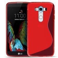 Handy Cover LG G2 Silikon Hülle Case Schutz Slim Gummi Tasche Backcover Rot