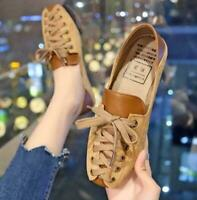 Retro Women Lace Up Shoes Suede Square Toe Britain Style Strap Casual Flats size