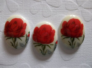 Vintage Glass Cameos - Red Rose Glass Cabochons 25X18mm - Made in Germany Qty 2
