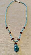 Signed FAS Turquoise and Amber Necklace 16 inch