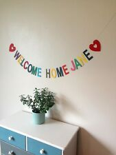 Personalised 'WELCOME HOME...' bunting, party banner hanging decoration