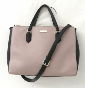 Kate Spade Tan & Black Saffiano Leather Carryall Tote Bag Purse